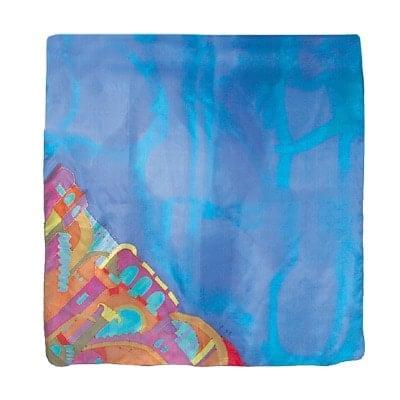 , A square silk scarf – Jerusalem in Blue, Jewish.Shop