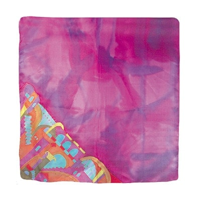 , A square silk scarf – Jerusalem in purple, Jewish.Shop