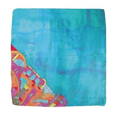 , A square silk scarf – Jerusalem in turquoise, Jewish.Shop