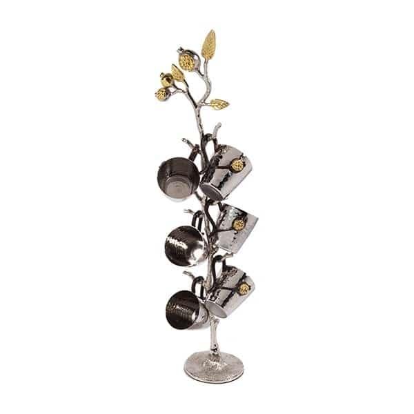""", Set of small Kiddush Cups """"six on wood"""" – pomegranates, Jewish.Shop"""