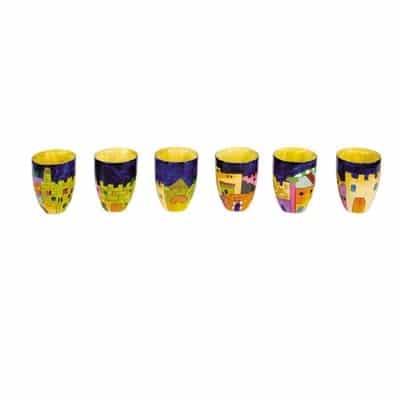 """, Set of small Kiddush Cups """"Six on a Tree"""" – Jerusalem, Jewish.Shop"""