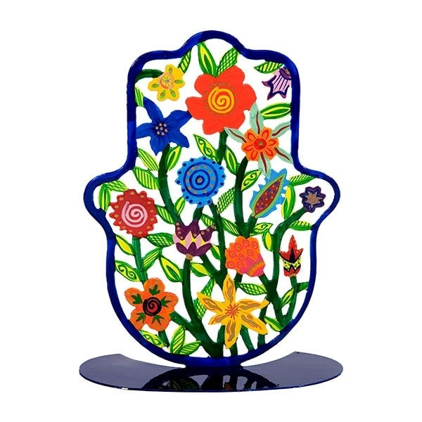 , Large colorful stand in the shape of 'Hamsa' – flowers, Jewish.Shop