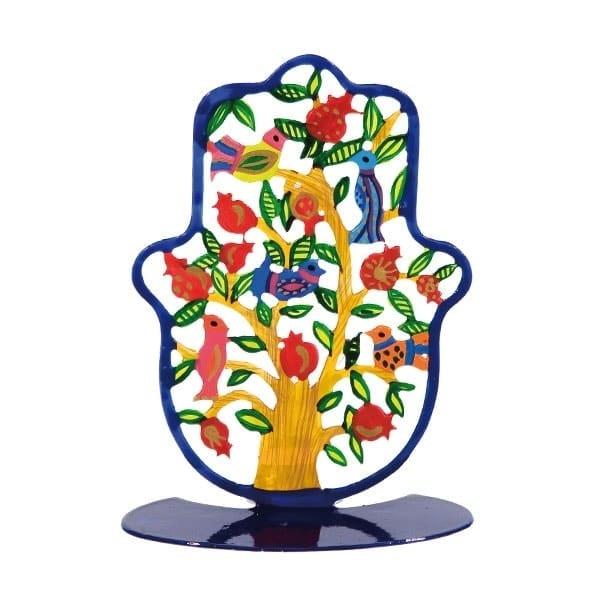 , Small colorful stand in the shape of 'Hamsa' – pomegranates, Jewish.Shop