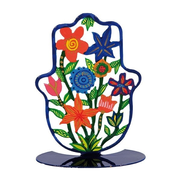 , Small colorful stand in the shape of 'Hamsa' – flowers, Jewish.Shop