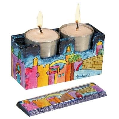 ", Shabbat Candlesticks ""Patent for the Road"" – Jerusalem, Jewish.Shop"