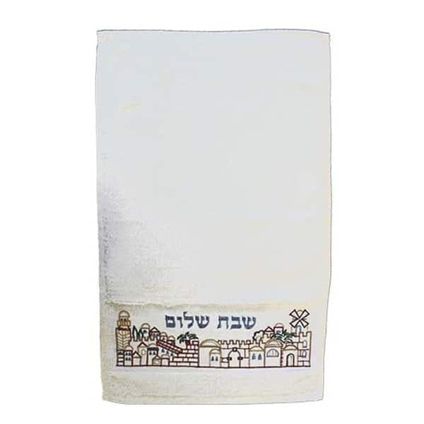 ", Towel – Embroidery – Jerusalem ""Shabbat Shalom"", Jewish.Shop"