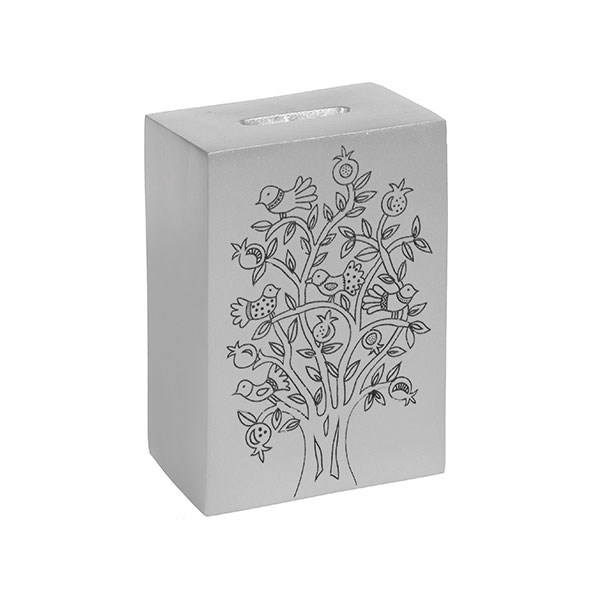 ", Tzedakah box ""The Tree of Life""  – silver, Jewish.Shop"