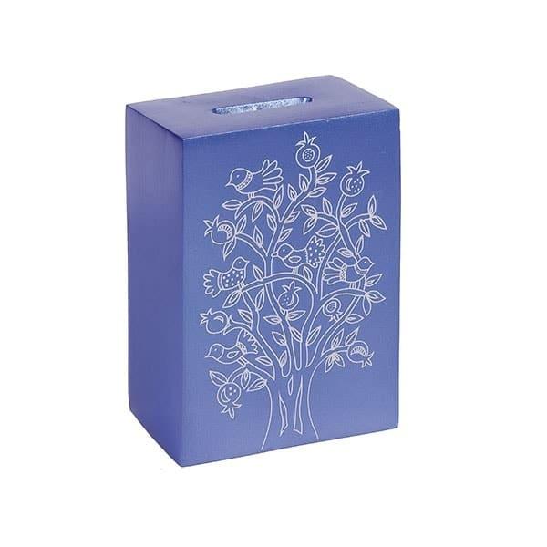 ", Tzedakah box ""The Tree of Life""  – blue, Jewish.Shop"