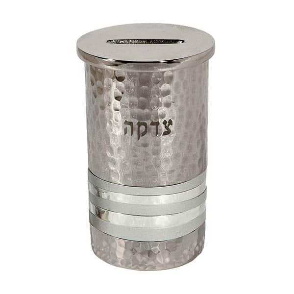 ", Tzedakah box ""Hammerwork"" – silver rings, Jewish.Shop"