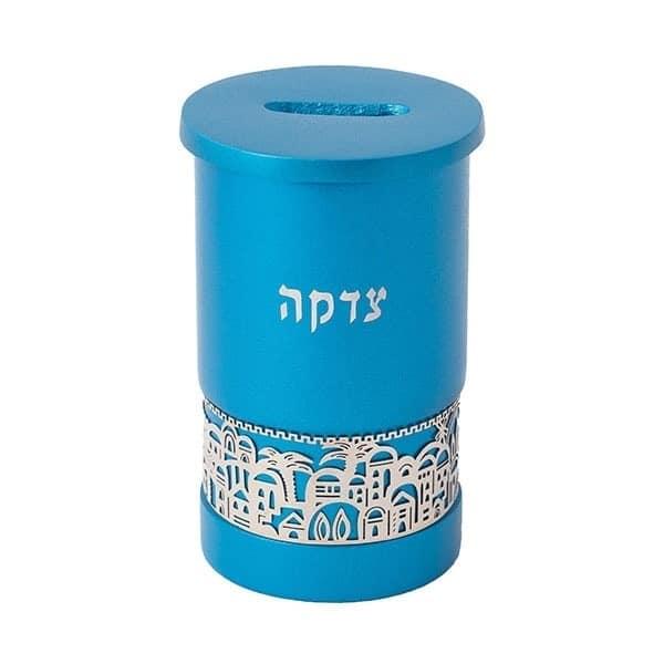 ", Tzedakah box ""Jerusalem""  – turquoise, Jewish.Shop"