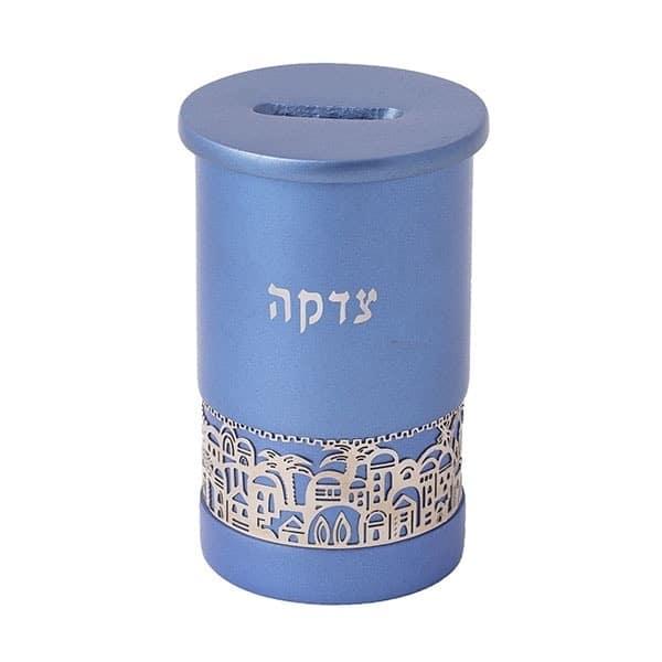 ", Tzedakah box ""Jerusalem""  – blue, Jewish.Shop"