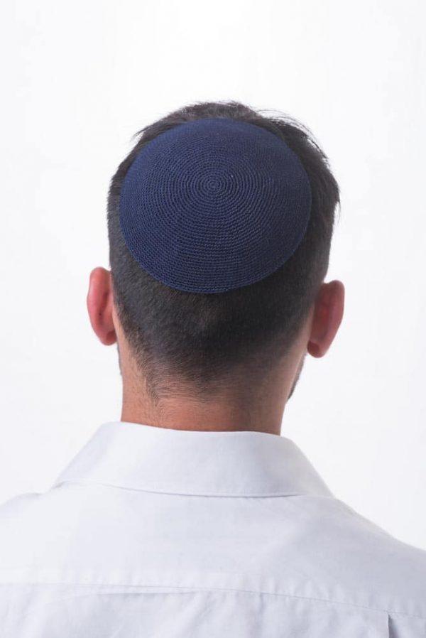, Blue crocheted Kippa, Jewish.Shop