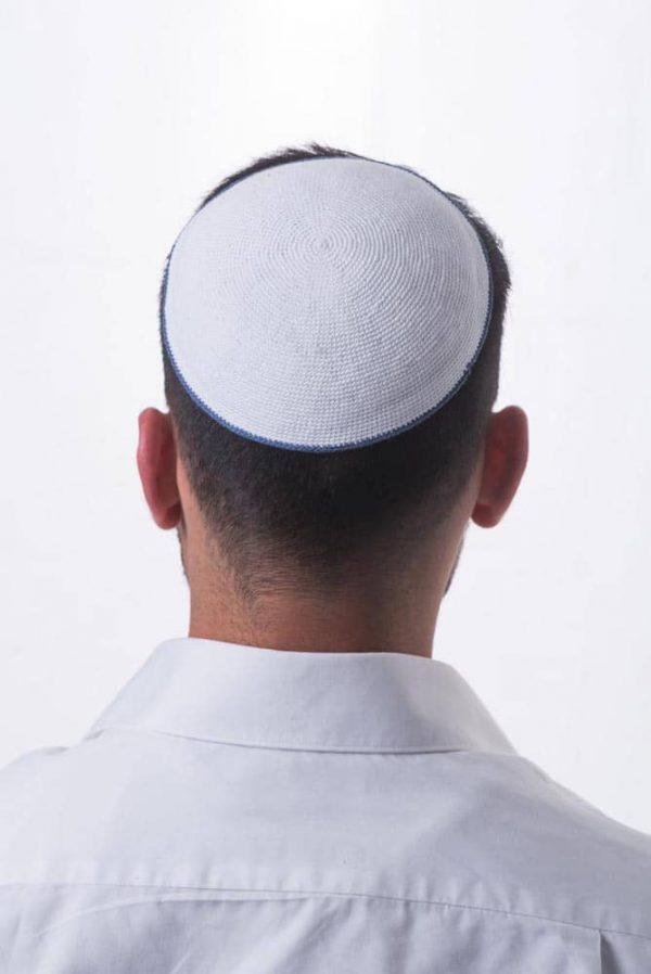 ", Crocheted Kippa – ""comprehensive light"" – white with blue stripe, Jewish.Shop"