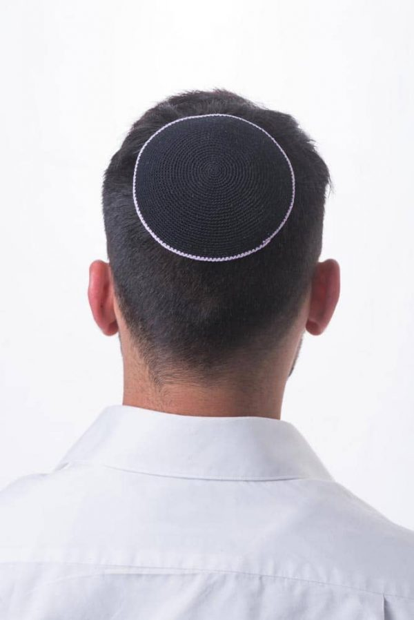 ", Crocheted Kippa – ""comprehensive light"" – black with white stripe, Jewish.Shop"