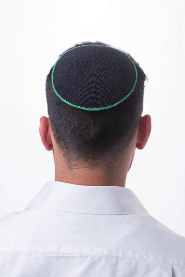 ", Crocheted Kippa – ""comprehensive light"" – black with green stripe, Jewish.Shop"