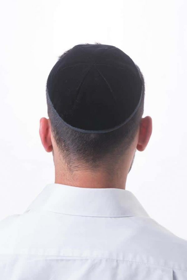 , Velvet Kippa with ribbon (size 8), Jewish.Shop