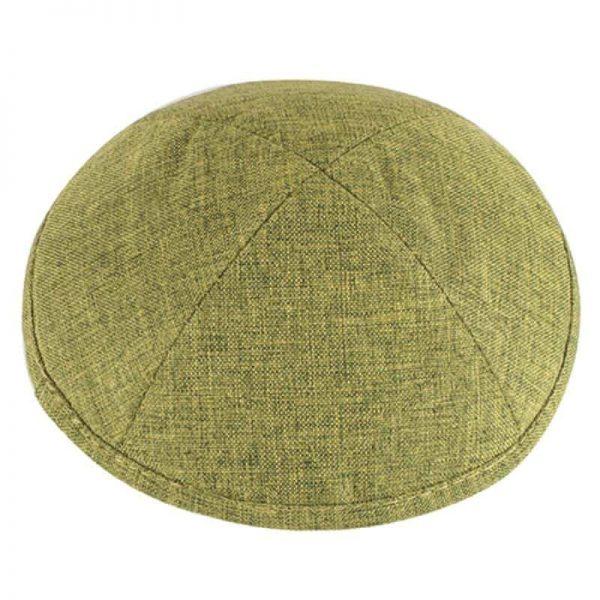 , Olive green Kippa linen (17 cm), Jewish.Shop