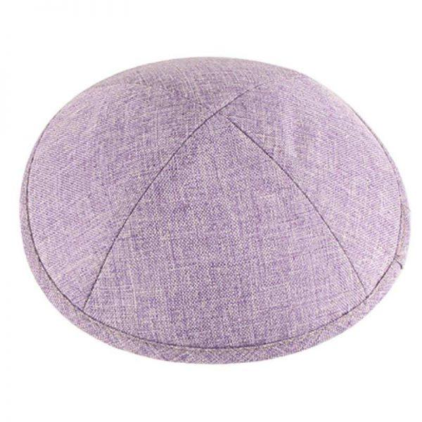 , Purple Kippa linen (19 cm), Jewish.Shop