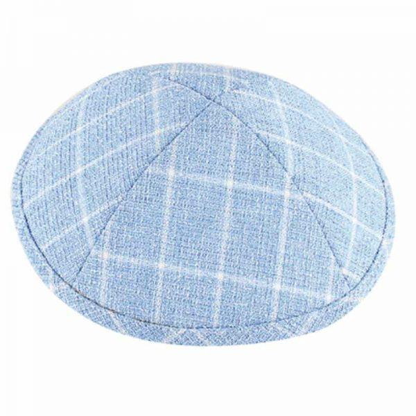 , Cloth Kippa -White stripes on Azure (17 cm), Jewish.Shop