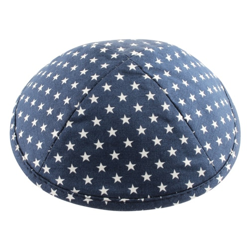, Cloth Kippa – White stars (17 cm), Jewish.Shop