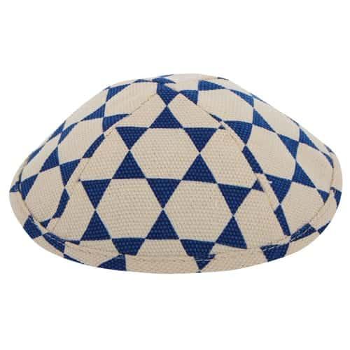 , Cloth Kippa – blue Triangles (17 cm), Jewish.Shop