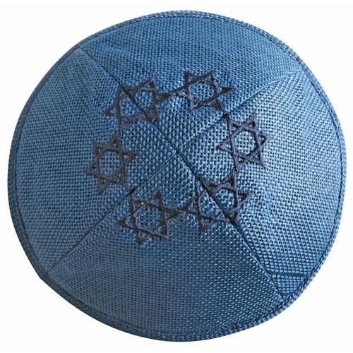, Blue Linen Kippa – Star of David, Jewish.Shop