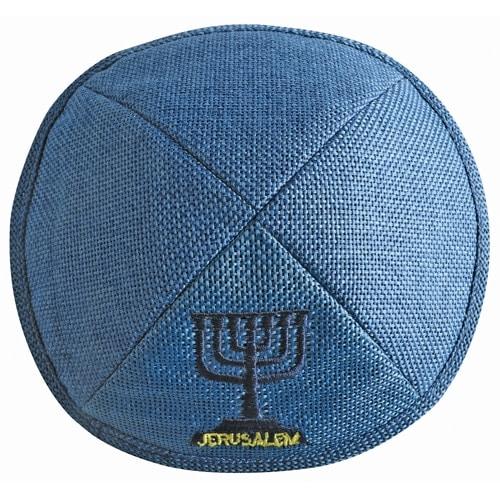 , Blue linen Kippa – – Jerusalem menorah, Jewish.Shop