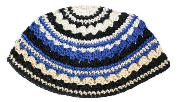 , Large Kippa – thick knitting – blue white and black (21 cm), Jewish.Shop