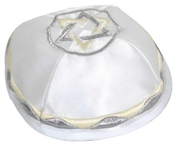 ", White Kippa – ""White Light"" – with Star of David, Jewish.Shop"