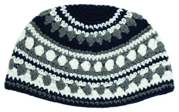 , Large Kippa – thick knitting – gray white and black (21 cm), Jewish.Shop