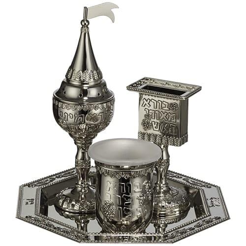 ", Havdalah Set 4 parts Nickel plating – ""Havdalah blessings""., Jewish.Shop"
