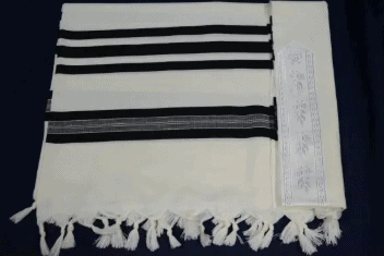 ", Light luxury tallit ""Pe`er"" – black, Jewish.Shop"
