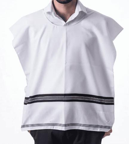 Chabad wool Tzitzit - with Silk garment corners, Chabad wool Tzitzit  – Silk garment corners, round collar, Jewish.Shop