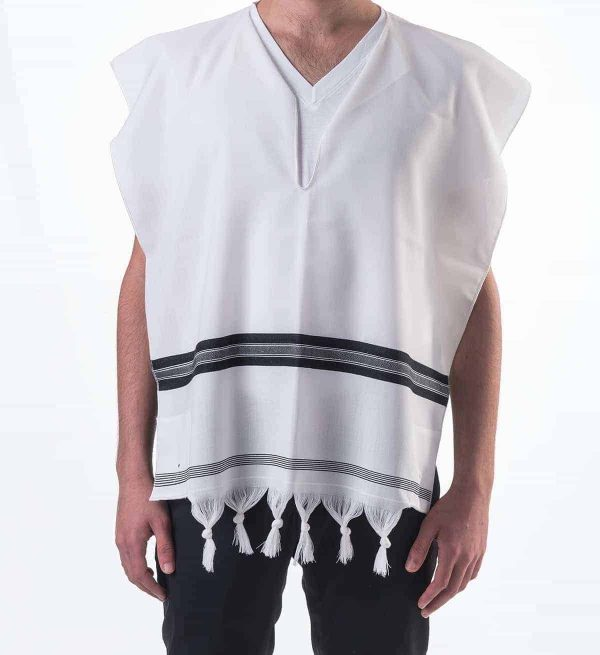 ", ""The Reinforced"" wool Tzitzit with frenzim White or black stripe, Jewish.Shop"